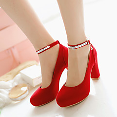 Women's Shoes Leatherette Chunky Heel Heels / Round Toe Heels Wedding / Dress / Casual Black / Red / BeigeD-6