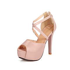 נשים-סנדלים-PU-נוחות רצועת קרסול נעלי מועדון-זהב כסף ורוד-חתונה שמלה מסיבה וערב-עקב סטילטו