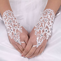lady'S White Lace Elastic Silk Flower Shape Tulle Fingerless Wrist Length Bridal Gloves for Wedding Party