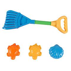 4-stykker strand sand legetøj sæt med sand rake og 3 modeller