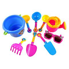 9-stukken strand zand speelgoed set met emmer, water pot, glas speelgoed en 6 handgereedschap