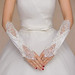 Elbow Length Fingerless Glove Satin / Lace Bridal Gloves / Party/ Evening Gloves Sequins / Beading / Embroidery