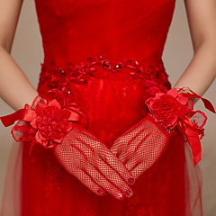 Wrist Length Fingertips Glove Satin / Lace / Net Bridal Gloves / Party/ Evening Gloves Floral / lace