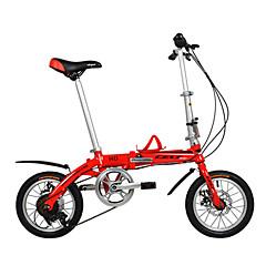 Folding Bikes Pyöräily 6 Speed 14 tuumainen 44mm Unisex / Miesten / Nais- Tuplalevyjarru Tavallinen Alumiiniseosrunko Taiteltava DEQUILON