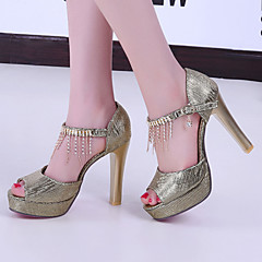 Women's Shoes Heel Heels / Peep Toe / Platform Sandals / Heels Wedding / Dress / Casual Red / Silver / Gold/F7-6