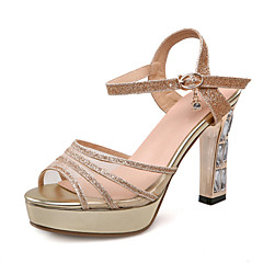Women's Shoes Patent Leather Chunky Heel Peep Toe / Platform Sandals Wedding / Party & Evening