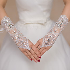Wrist Length Fingerless Glove Lace Bridal Gloves Party/ Evening Gloves Rhinestone lace
