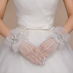 Wrist Length Fingertips Glove Net / Tulle Bridal Gloves / Party/ Evening Gloves Rhinestone