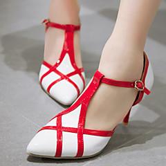 נעלי נשים-בלרינה\עקבים-עור פטנט / דמוי עור-עקבים / רצועת T / שפיץ-שחור / ורוד / אדום / לבן / Almond-משרד ועבודה / שמלה / מסיבה וערב-עקב