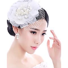 Bride's White Lace Flower Veil Wedding Fascinators Hat Hair Jewelry