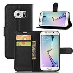 Pour Samsung Galaxy S7 Edge Porte Carte Portefeuille Avec Support Clapet Coque Coque Intégrale Coque Couleur Pleine Cuir PU pour Samsung