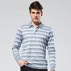 zeven Brand® Heren Overhemdkraag Lange mouw T-shirt Bruin-E99T530183