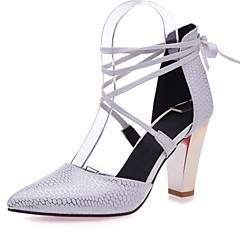 Women's Shoes Leatherette Chunky Heel Heels Heels Wedding / Office & Career / Dress Black / Red / White / Beige