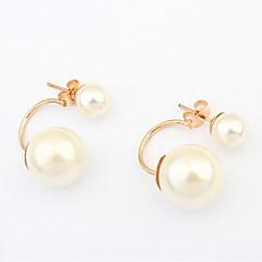 Super Hot Elegant Ladies Women Jewelry Double Side Shining Round Beads Imitation Pearl Stud Earrings