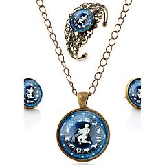Lureme® Time Gem The Zodiac Series Vintage Aquarius Pendant Necklace Stud Earrings Hollow Flower Bangle Jewelry Sets