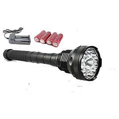 15 cree t6 conduit 18 000 lumens 5 modes de commutation lampe tactique avec 4pcs 26650 5800mAh et chargeur double
