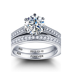 2016 Personalized Noble Promise 925 Sterling Silver Couples CZ Stone Wedding Ring