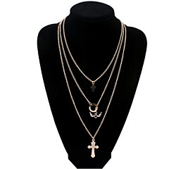 Fashion Punk Style Jewelry Angel Wings Long Tassel Necklace Double Cross Gold Alloy Necklace For Lady Women