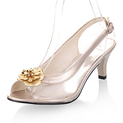 Women's Shoes Transparent Cone Heel Peep Toe / Slingback Sandals Wedding / Party & Evening / Dress Black / Silver / Gold