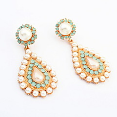 Super Shinning Elegant Jewelry Statement Imitation Pearl Water Drops Earrings for Retro Women