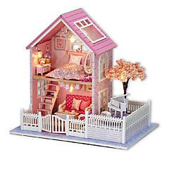 chi fun house cabine diy rose cerise main maison modèle assemblé cadeau d'anniversaire créatif pour envoyer des filles copines