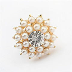 Fine Jewelry Imitation Crystal Rhinestone Wedding Rings Water Drop Resizable Rings Pearl Jewelry Rings For Women