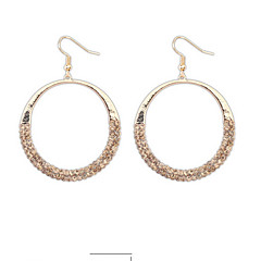 New Arrival Design Fashion Gold Silver Big Hollow Circle Rhinestone Drop Earrings