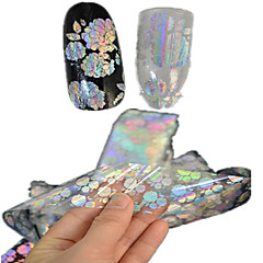 1pcs 100 * 4cm transparente Laser Nagel-Kunst-Funkeln-Aufkleber DIY schöne Blume geometrischen Bild Nagelschönheit lt05-08