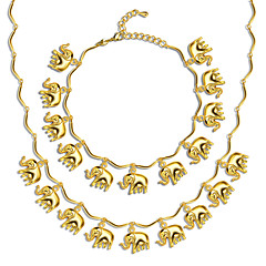 Little Elephant 18K Gold Plated Necklace Bracelet Jewelry New Trendy 46MM Chain Gift NB60085