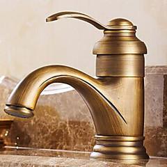 Traditionel Centersat Enkelt håndtag Et Hul in Antik Messing Håndvasken vandhane