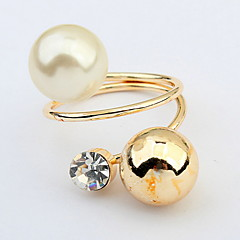 Personalized Metal Balls Pearl Ring