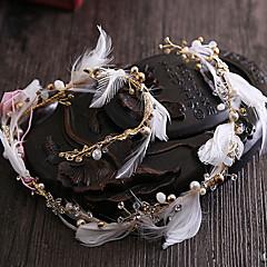 Women's Feather / Rhinestone / Brass / Imitation Pearl Headpiece-Wedding / Special Occasion Headbands 1 Piece