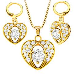 Schmuckset Halskette / Ohrringe Kristall Liebe Modisch Krystall Gold Zirkon Kupfer Golden Halsketten Ohrringe FürHochzeit Party Alltag