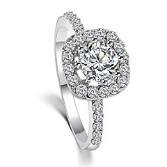 Fashion Temperament Crystal Zircon Silver Wedding Ring Exquisite Holiday Gifts