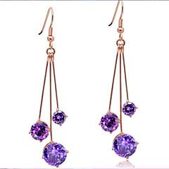Fashion Long Tassel Super Bright Amethyst Sterling Silver Earrings