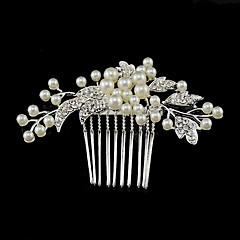Vrouwen Bergkristal / Kristallen / Licht Metaal / Imitatie Parel Helm-Bruiloft / Speciale gelegenheden Haarkammen 1 Stuk Zilver