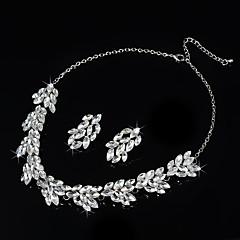Takı Seti Kadın's Yıldönümü / Düğün / Nişan / Doğumgünü / Parti / Özel Anlar Mücevher Setleri alaşım Yapay Elmas Kolyeler / Kolczyki Gümüş