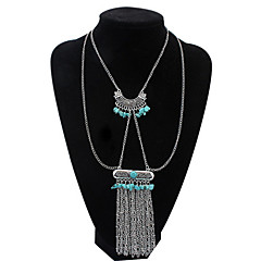 Fashion Inlaid Turquoise Tassel Chain Necklace