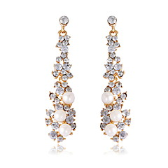 Fashion Classic Luxury Full Rhinestone Long Section Bridal Accessories Pearls Earrings