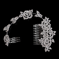 28*6 cm Hair Combs with Rose Flower Crystal for Lady Wedding Party