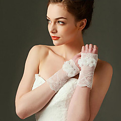 2016 New Wrist Length Fingerless Glove Lace Bridal Gloves with Pearls / Floral / lace