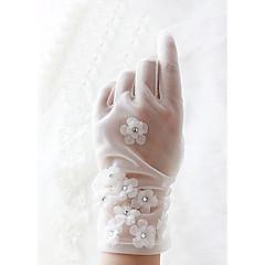 Wrist Length Fingertips Glove Knit Bridal Gloves Spring / Summer / Fall / Winter Appliques