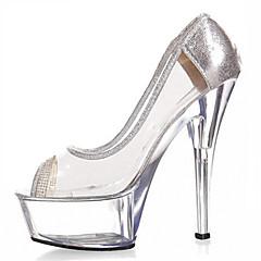 New 15CM crystal car diamond high heels Women's Shoes Transparent PVC / Glitter Heels / Peep Toe Heels Wedding / Outdoor / Party