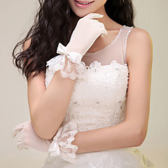 Wrist Length Fingertips Glove Lace Bridal Gloves with Tie Bow