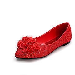 Bez podpatku-Semiš-Špičatá špička / Uzavřená špička / Bez podpatku-Dámská obuv-Červená-Svatba-Plochá podrážka