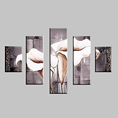 Hånd-malede Landskab / Blomstret/Botanisk Oliemalerier,Klassisk / Moderne / Traditionel Fem Paneler Canvas Hang-Painted Oliemaleri For