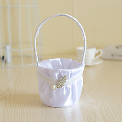 White Satin with Crystal Leaf Pearl Decoration Flower Basket for Wedding Party(12*12*24cm)