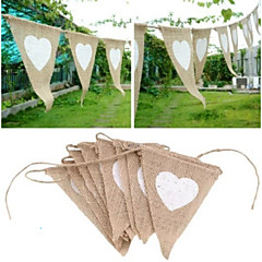 White Heat Triangles  Jute Flag Banner Linen Bunting Garland Wedding Party Decorate (Size: 1, Color: Light brown)
