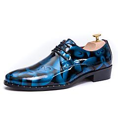 גברים-נעלי אוקספורד-עור-נוחות-כחול חום אפור-משרד ועבודה יומיומי מסיבה וערב-עקב שטוח
