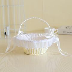 Rattan Flower Basket with Imitation Pearl for Wedding Flower Girl Basket(22*22*22)